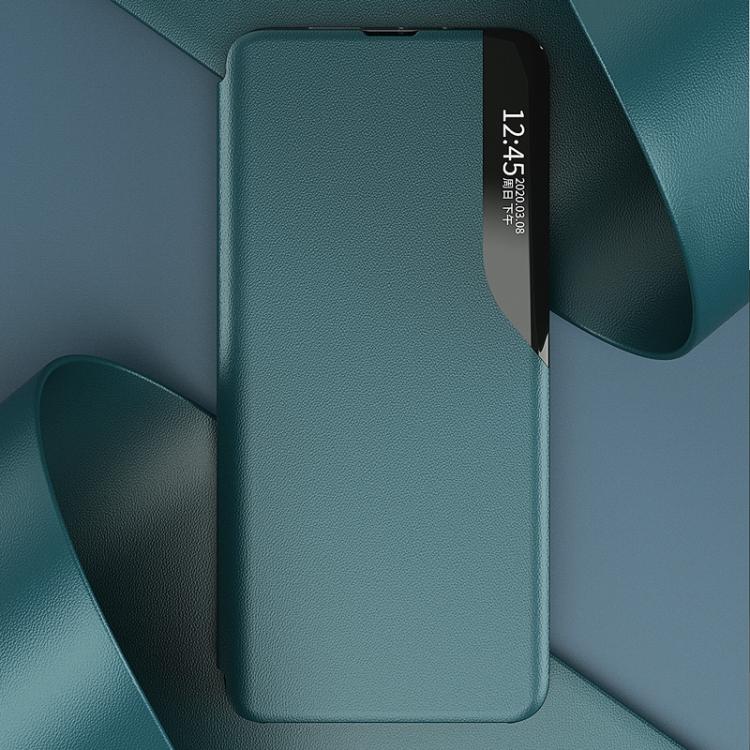 Ударостойкий кожаный чехол-книжка синего цвета для Самсунг Гелекси М31с
