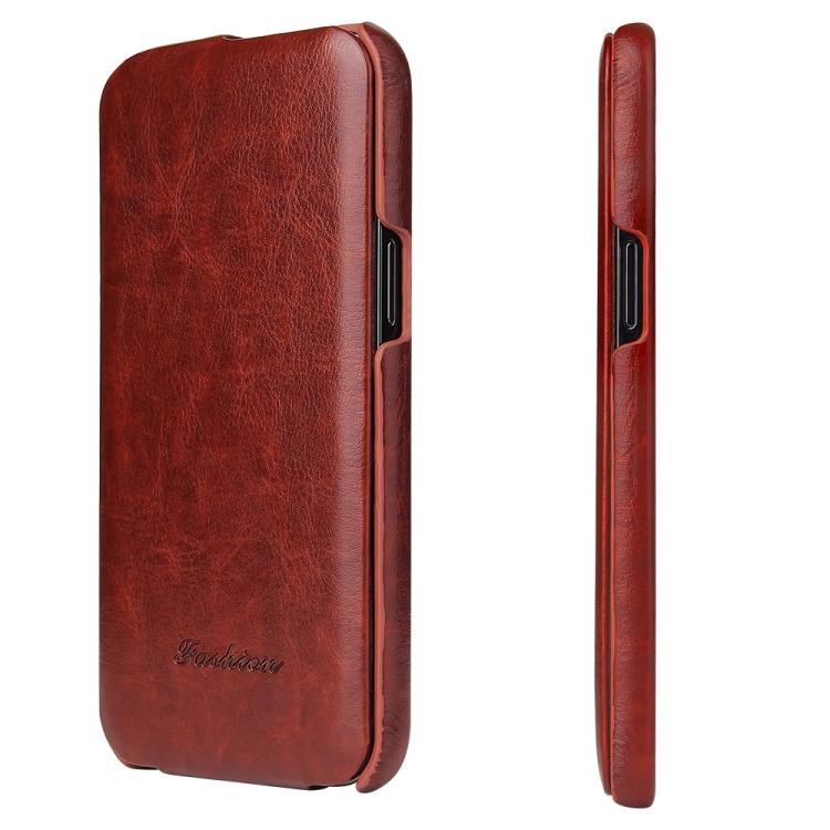 Красный флип-чехол кожаный для Айфон 12 Про Макс