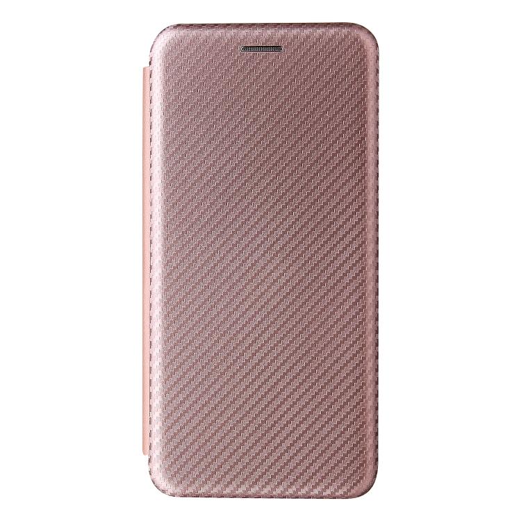 Чехол-книжка Carbon Fiber Texture на Samsung Galaxy S21 FE - розовый