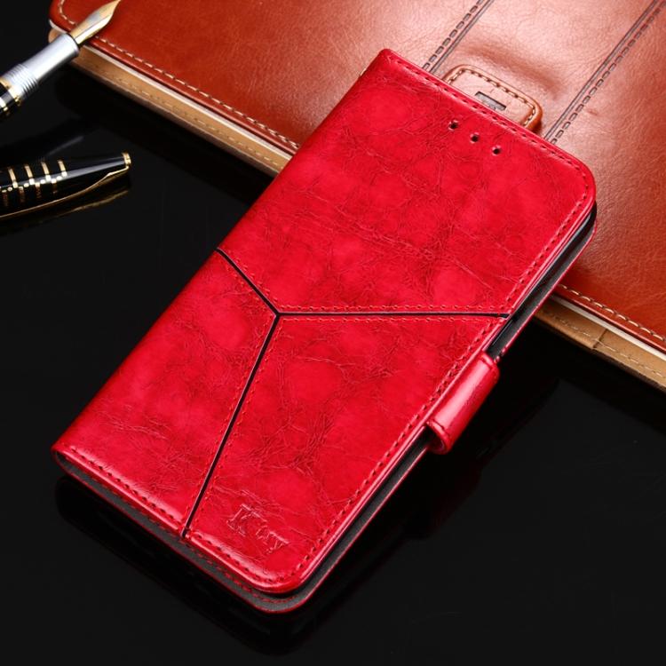Чехол-книжка Geometric Stitching для Xiaomi Redmi 9C - красный