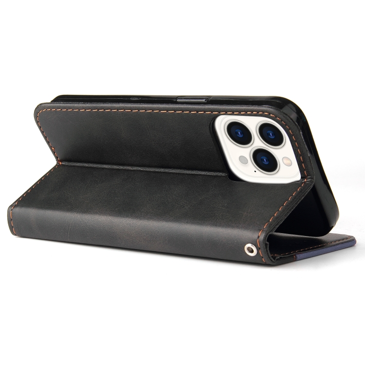 Серый кожаный чехол-книжка со складной подставкой на Айфон 13 Про Макс