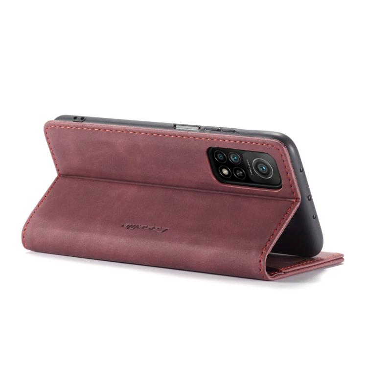 Кожаный чехол-книжка с складной подставок на Сяоми Ми 10Т винно-красного цвета