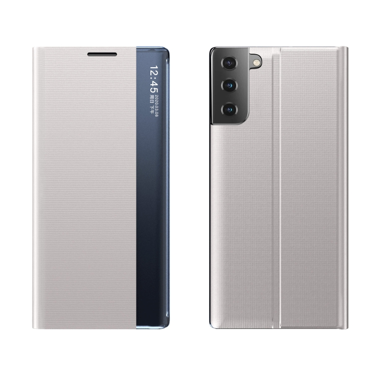 Чехол-книжка Clear View Standing Cover на Samsung Galaxy S21 FE - серебристый