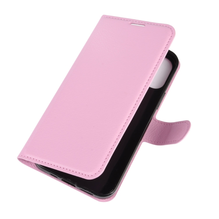 Чехол-книжка Litchi Texture на iPhone 12/12 Pro  - розовый
