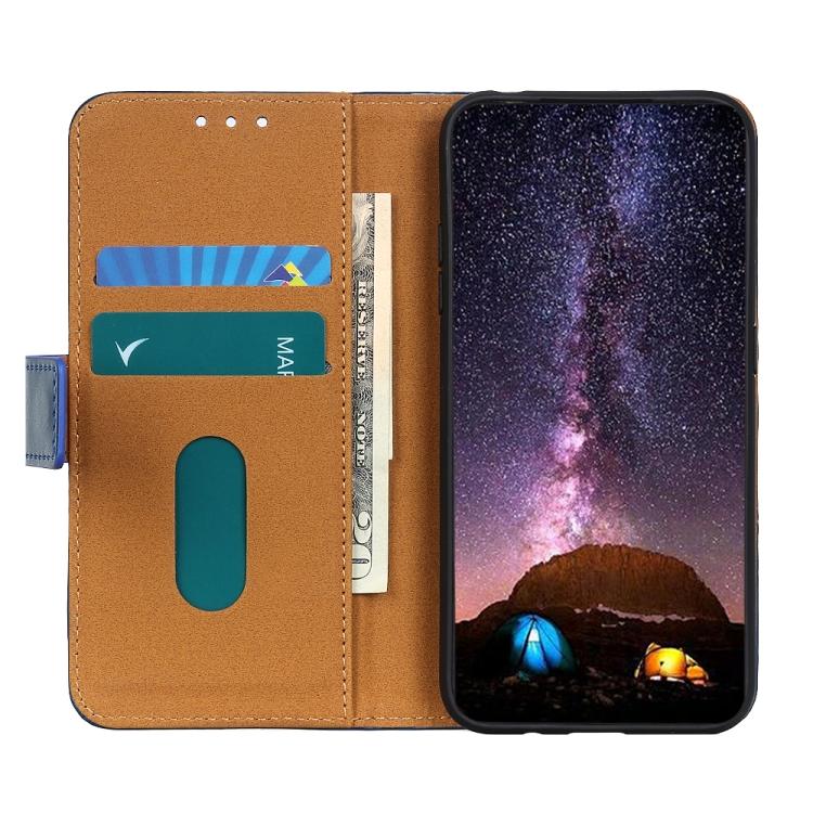 Кожаный чехол-книжка слоты для карт для Samsung Galaxy A72 синий