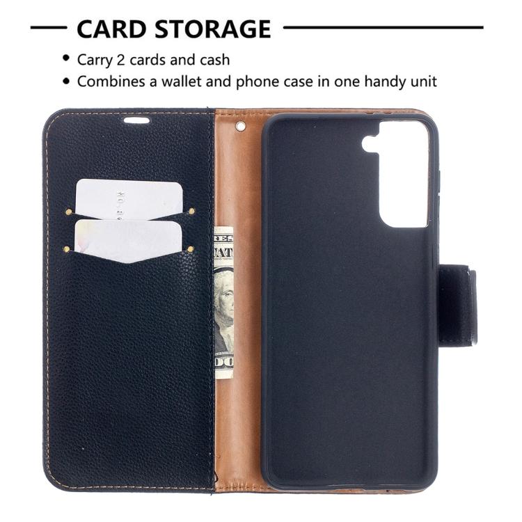 Черный чехол-книжка Color с карманами на Самсунг Галакси С21 Плюс