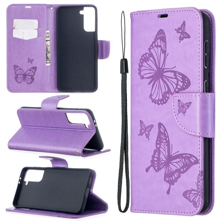 Фиолетовый чехол-книжка Butterflies Pattern на Samsung Galaxy S21 Plus