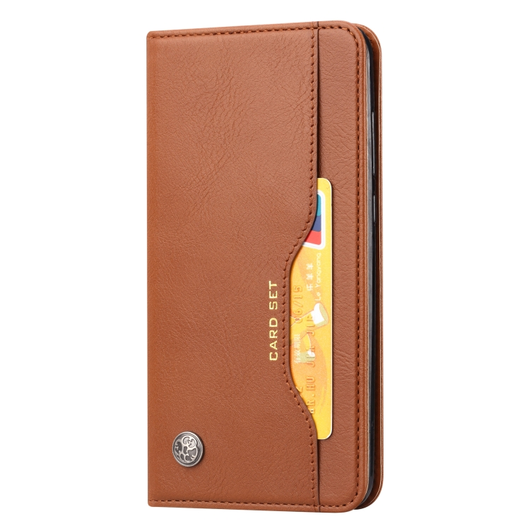 Чехол-книжка Knead Skin Texture на Samsung Galaxy M51 - коричневый