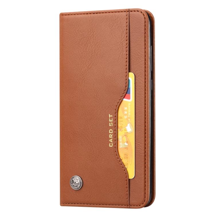 Чехол-книжка Knead Skin Texture на Samsung Galaxy Note 20 Ultra - коричневый
