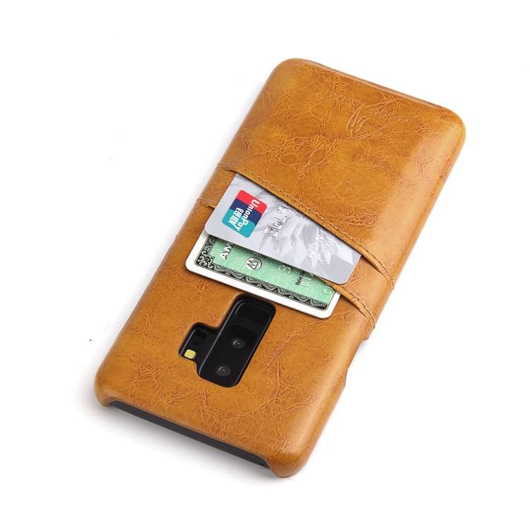 Кожаный чехол Retro Oil со слотом для карт Самсунг Галакси S9 Плюс-желтый