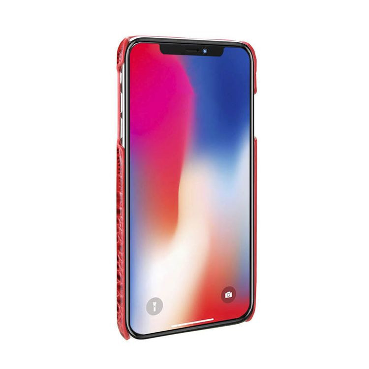 Кожаный чехол ЕсКейс Крокодайл Скин-лайк для Айфон 11 Про Макс- красный