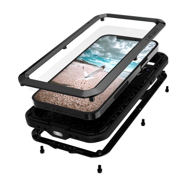 Влагозащитный противоударный чехол LOVE MEI Metal для Айфон 12 Про - черный