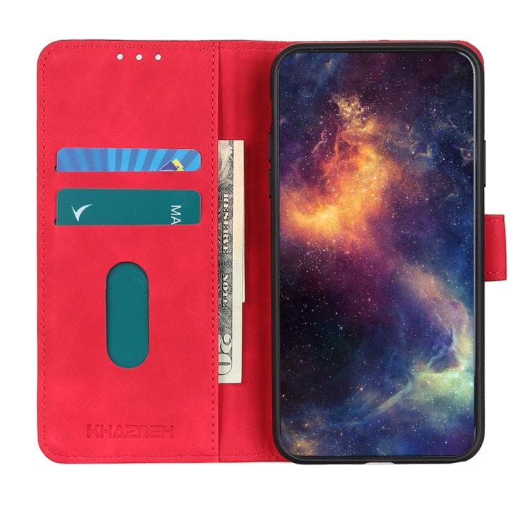 Чехол кожаный ярко красного цвета с слотами под кредитки на Самсунг Гелекси М31с