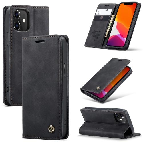 Кожаный чехол-книжка черного цвета с  складной подставкой для Айфон 12 Мини