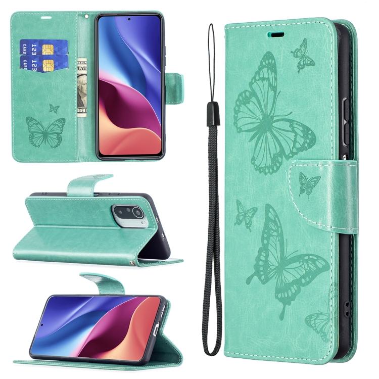 Чехол-книжка Green Butterflies  для Redmi K40/Xiaomi Poco F3/Xiaomi Mi 11i/K40 Pro