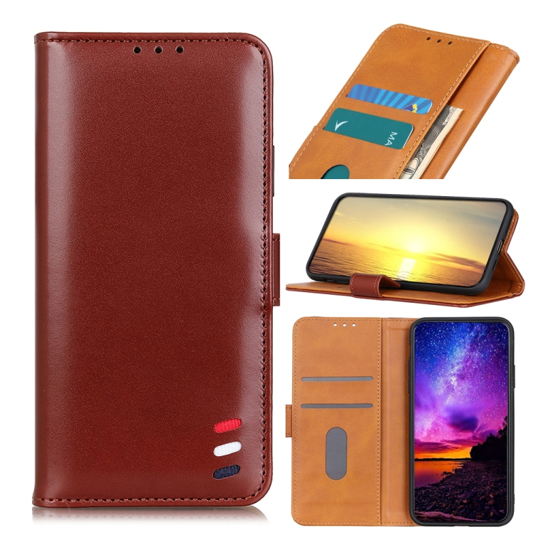 Чехол-книжка 3-Color Pearl на Samsung Galaxy A22 4G - коричневый