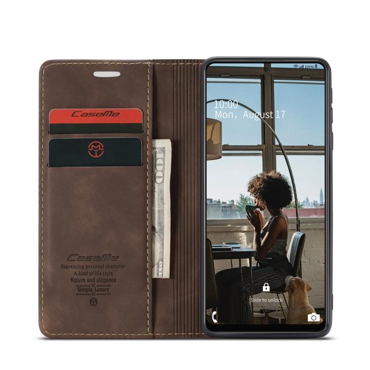 Чехол-книжка CaseMe 013 Series на Самсунг A72 - кофейный