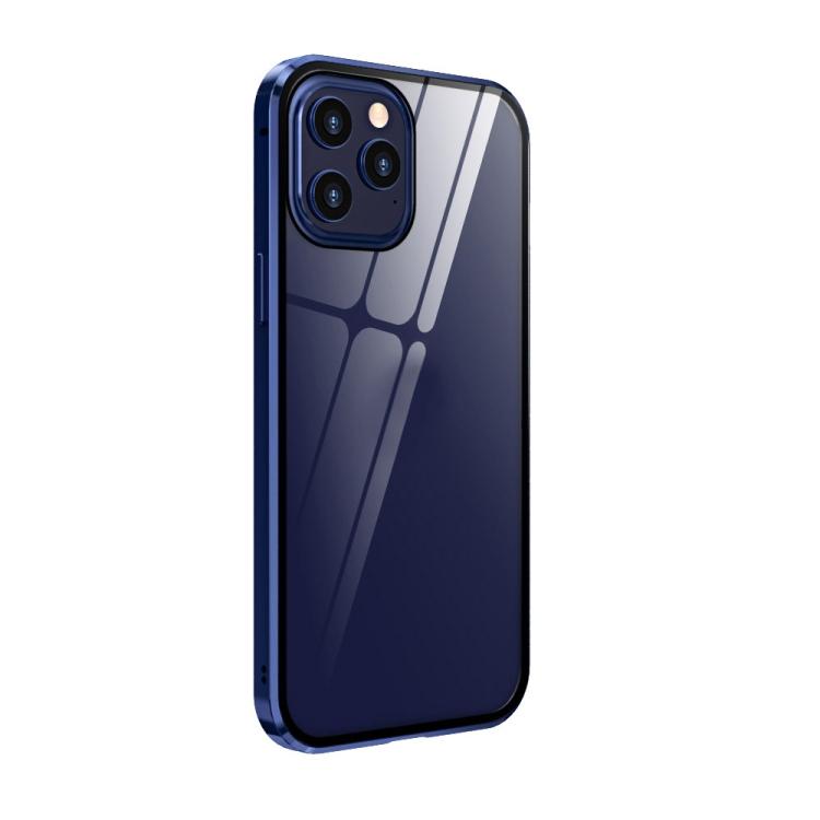 Двухсторонний магнитный чехол для Айфон 12 Про Макс- синий