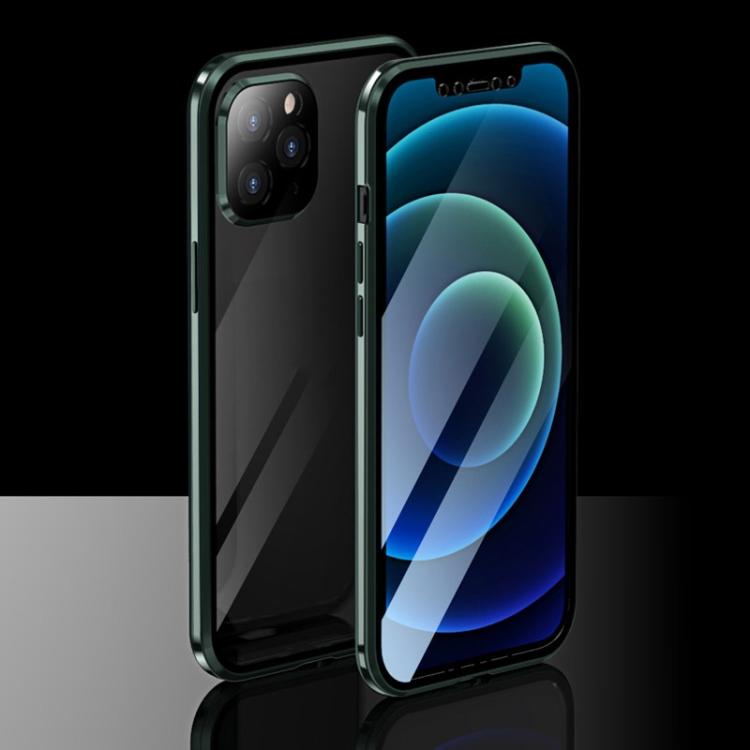 Двухсторонний магнитный чехол Electroplating Frame для iPhone 12 / 12 Pro - зеленый