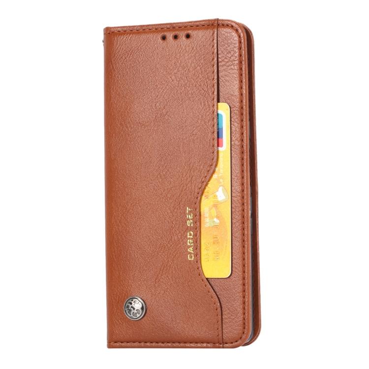 Кожаный чехол-книжка коричневого цвета для Сяоми Редми Нот 9 Про