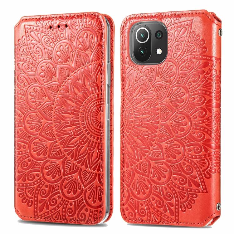 Красный узорный чехол-книжка для Сяоми Ми 11 Лайт