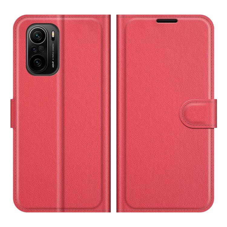 Красный чехол-книжка Texture Litchi для Xiaomi Poco F3/Mi 11i/Redmi K40 Pro/K40