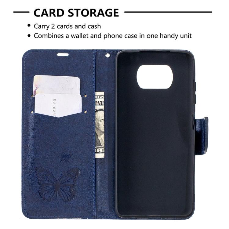 Чехол-книжка с карманами синего цвета на Сяоми Поко Х3 Про