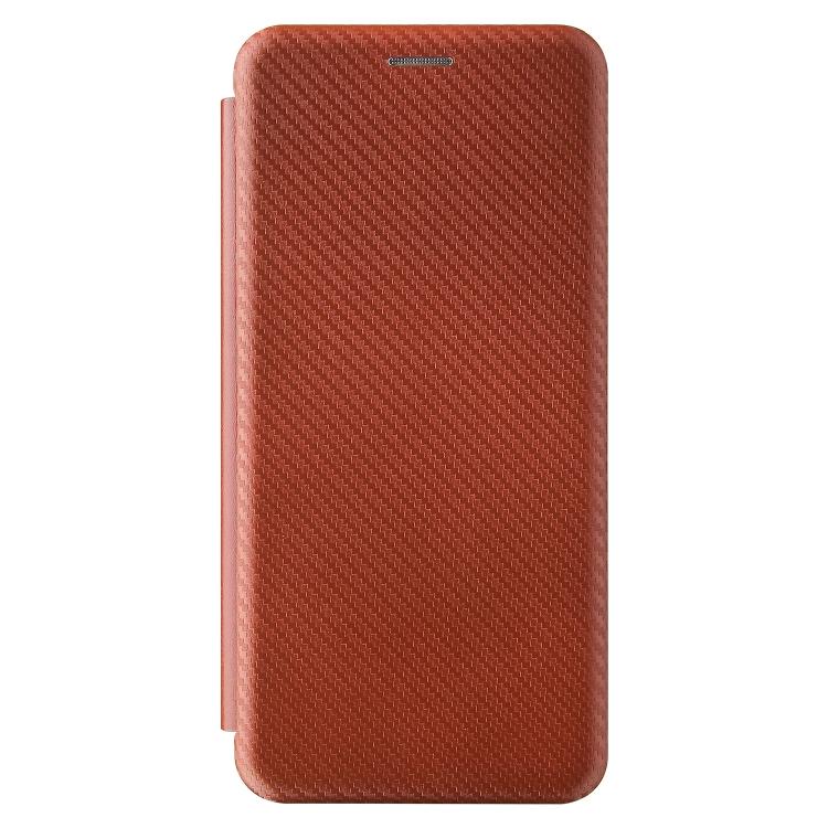 Чехол-книжка Carbon Fiber Texture на Xiaomi Redmi Poco F3/Redmi K40/K40 Pro - коричневый