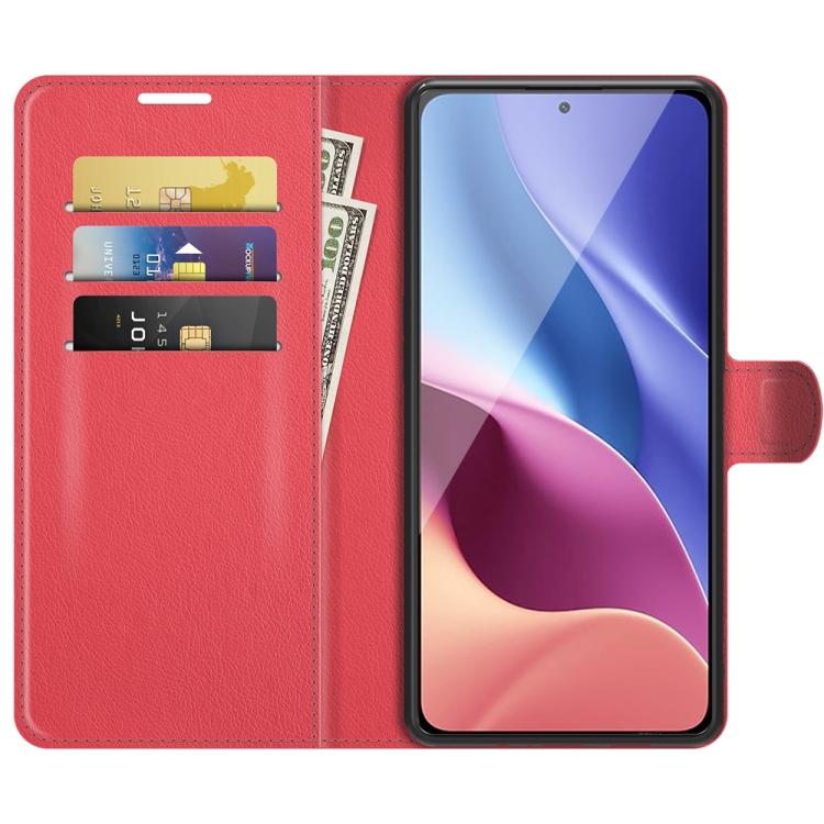 Чехол-книжка красного цвета со слотами для Ксиоми Mi 11i/Редми K40 Про/K40/Поко Ф3
