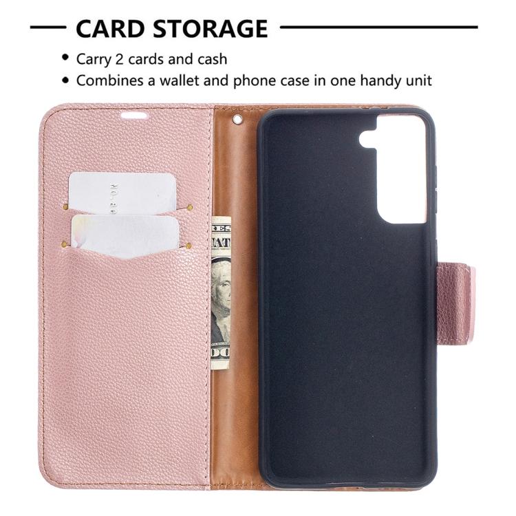 Розовый чехол-книжка с карманами для карт и купюр для Галакси с21 Плюс