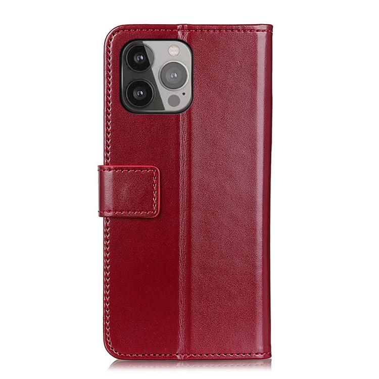Кожаный чехол-книжка вино-красный на Айфон 13 Про Макс