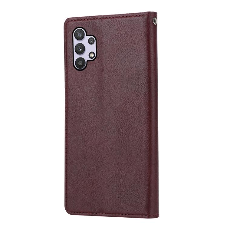 Кожаный чехол-книжка подставка на Samsung Galaxy A32 коричневый