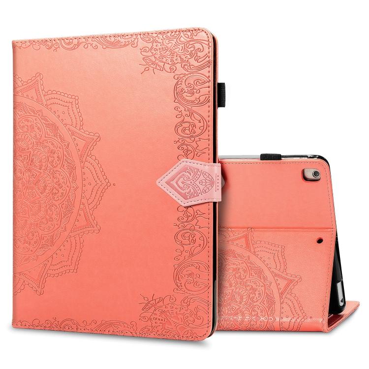 Чехол-книжка Embossed Mandala для iPad 10.2 / iPad 10.2 (2020) - оранжевый