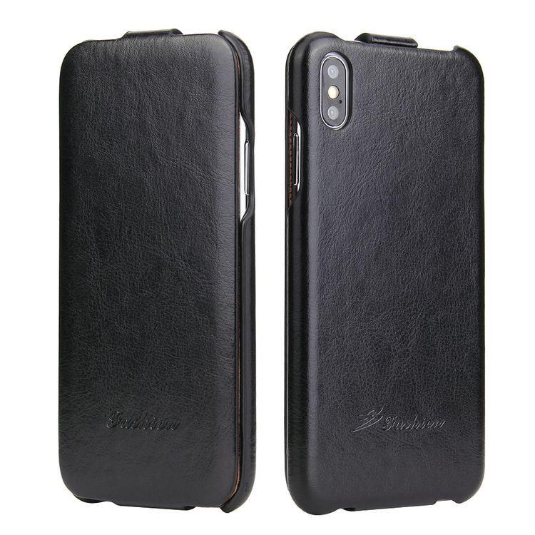 Черный флип-чехол ударостойкий кожаный для Айфон ХС Макс