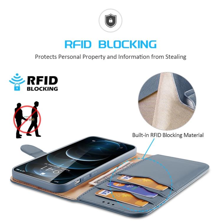 Кожаный синий чехол-книжка с слотами под кредитки на Айфон 12 Про Макс
