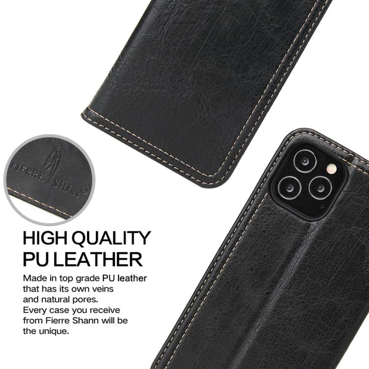 Чехол-книжка Fierre Shann Retro на Айфон 12 Mini - черный
