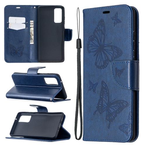 Чехол-книжка Butterflies Pattern на Samsung Galaxy S20 FE - синий