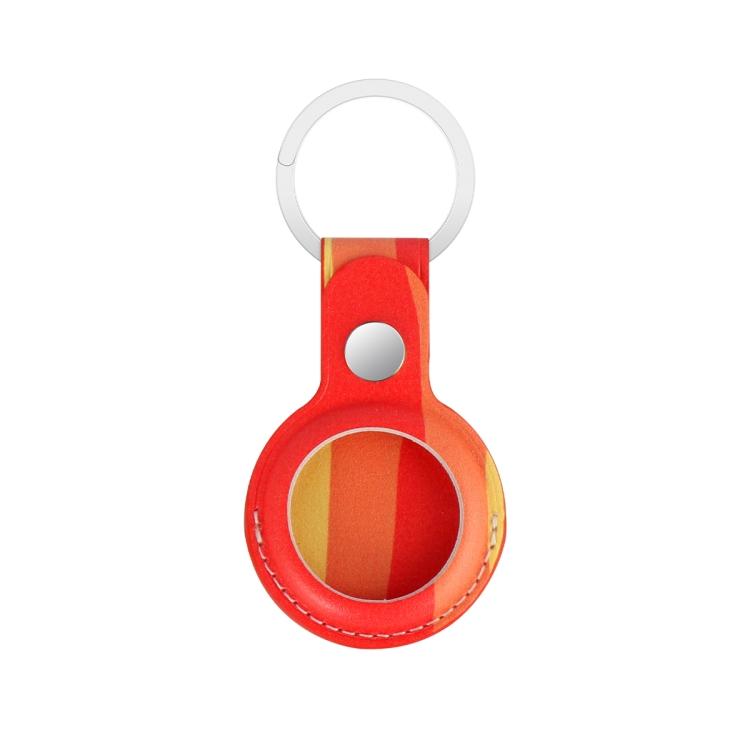 Кожаный брелок Rainbow с кольцом для AirTag - красный