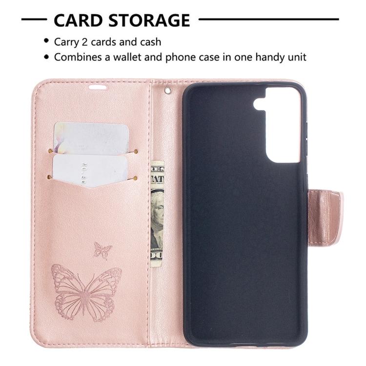 Чехол-книжка Butterflies розового цвета для Samsung Galaxy S21 Plus