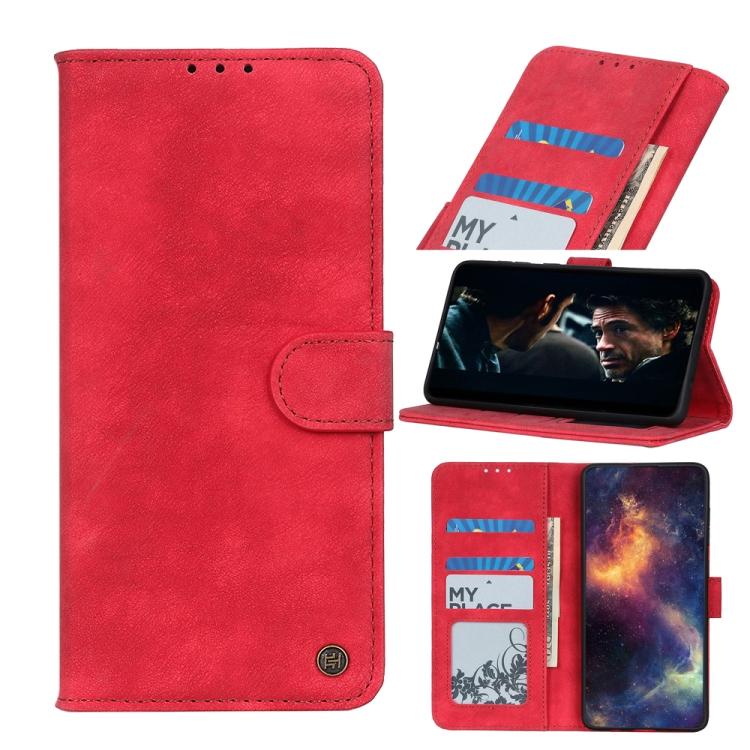 Красный кожаный чехол-книжка для Сяоми Ми 10Т Лайт