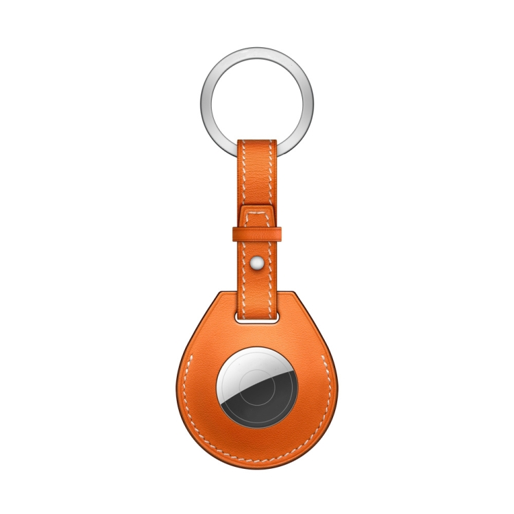 Кожаный брелок  с кольцом Keychain для ЭйрТег - желтый