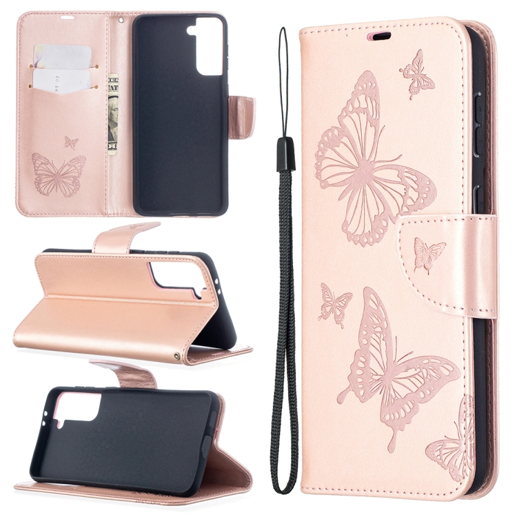 Чехол-книжка Butterflies розового цвета на Samsung Galaxy S21 Plus