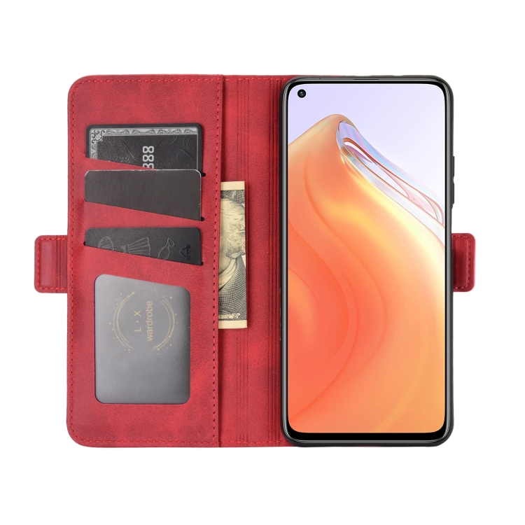Кожаный красный чехол-книжка с слотами под кредитки на Сяоми Ми 10Т