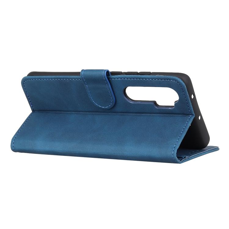 Синий кожаный чехол с складной подставкой на Сяоми Ми Нот 10 Лайт