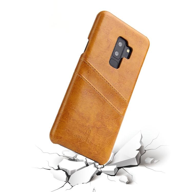 Кожаный чехол Fierre Shann Retro Oil Wax Texture на Samsung Galaxy S9 Plus-желтый