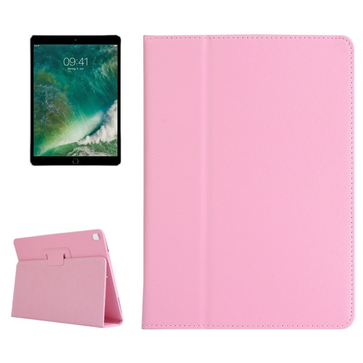 Чехол-книжка Litchi Texture 2-fold на iPad 7 10.2/Pro 10.5/Air 2019-розовый