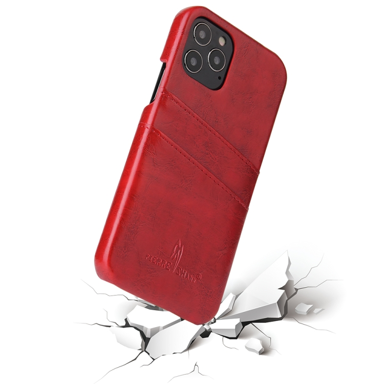 Кожаный чехол Fierre Shann Retro Oil Wax на iPhone 12/12 Pro - красный