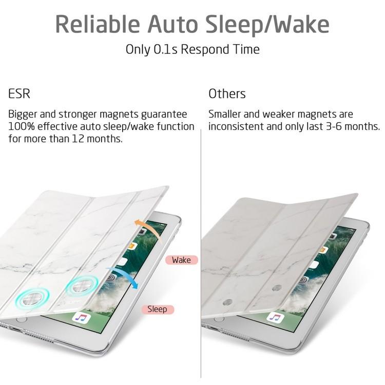 Чехол-книжка ESR Marble Series Three-folding Magnetic на iPad 9.7 - белый мрамор