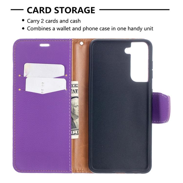 Фиолетовый чехол-книжка с отделениями для карт на Самсунг Галакси С21