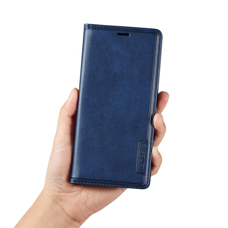 Синий кожаный чехол-книжка для Самсунг Гелекси С9 Плюс